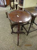 19TH CENTURY MAHOGANY CIRCULAR TILT TOP WINE TABLE WITH TURNED COLUMN ON A TRIPOD BASE