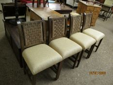 SET OF FOUR OAK FRAMED CREAM UPHOLSTERED DINING CHAIRS