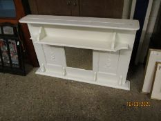 WHITE PAINTED OVERMANTEL MIRROR WITH OPEN SHELF AND SQUARE MIRROR FLANKED EITHER SIDE BY CARVED