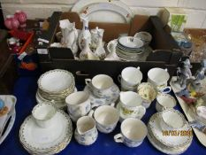 QUANTITY OF MIXED CHINA WARES TO INCLUDE AYNSLEY COTTAGE GARDEN VASES ETC (QTY)