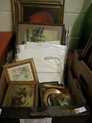 BOX CONTAINING PRINTS, PICTURES, SILVER LEAF PICTURE FRAMES, WATERCOLOURS ETC