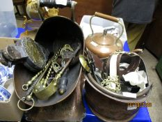 MIXED LOT OF COPPER COAL HELMETS, BRASS BELLOWS, ANDIRONS, KETTLE, COPPER TRAY ETC (QTY)