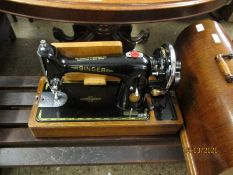 OAK CASED DOME TOP SINGER SEWING MACHINE