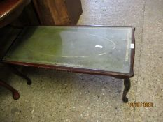 TEAK FRAMED GREEN LEATHER INSET RECTANGULAR COFFEE TABLE
