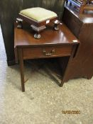 MAHOGANY SMALL SINGLE DRAWER DROP LEAF TABLE