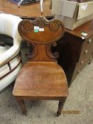 19TH CENTURY OAK HALL TABLE CHAIR, WITH C-SCROLL MOULDED BACK AND SOLID SEAT