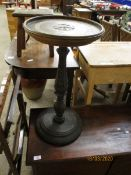 MAHOGANY CIRCULAR TOP AND CARVED COLUMN PLANT STAND