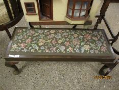 OAK FRAMED RECTANGULAR FOOT STOOL WITH EMBROIDERED TOP