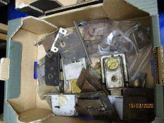 BOX CONTAINING VINTAGE DOOR LOCKS, CATCHES ETC