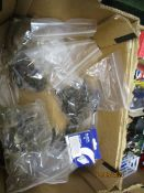 BOX CONTAINING FURNITURE FITTINGS, HANDLES ETC