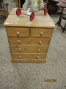 SMALL PINE TWO OVER THREE FULL WIDTH DRAWER CHEST WITH TURNED KNOB HANDLES