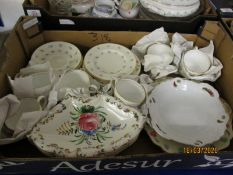 BOX CONTAINING MIXED WEDGWOOD FLORAL TEA WARES ETC