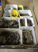 BOX CONTAINING FITTINGS, HOOKS, LATCHES ETC