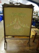 OAK FRAMED EMBROIDERED FIRE SCREEN