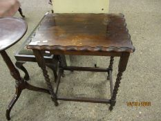 1940S OAK FRAMED RECTANGULAR SIDE TABLE WITH BARLEY TWIST SUPPORTS