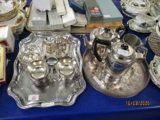 MIXED LOT OF SILVER PLATED WARES, BON-BON DISHES, FOUR PIECE TEA SET ETC
