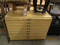 BEECHWOOD FRAMED EIGHT DRAWER PILLAR CHEST