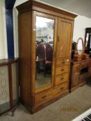 VICTORIAN PINE WARDROBE WITH SINGLE MIRRORED DOOR WITH FOUR DRAWERS WITH DECORATIVE BRASS HANDLES