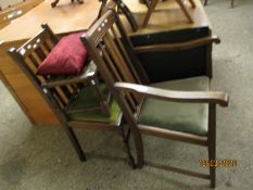 OAK FRAMED RATTAN TOP STOOL, OAK FRAMED CARVER CHAIR WITH DROP IN SEAT AND SIMILAR DINING CHAIR