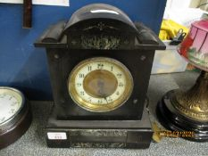 BLACK SLATE AND MARBLE MANTEL CLOCK