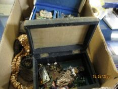 BOX CONTAINING COSTUME JEWELLERY ETC