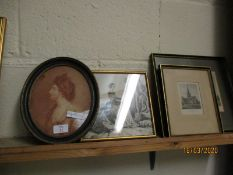VICTORIAN OVAL PORTRAIT OF A WOMAN AND A FURTHER PRINT OF NORWICH CATHEDRAL, CROMER ETC (4)