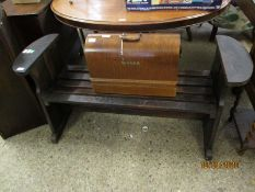 "EARLY 20TH CENTURY OAK BENCH WITH SLATTED SEAT, BEARS LABEL INSCRIBED ""BUILT FROM TIMBERS EX HMS"