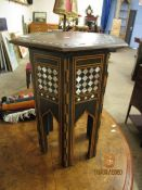 WALNUT EBONISED AND MOTHER OF PEARL INLAID HEXAGONAL MOORISH TABLE