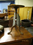 REPRODUCTION WALNUT PIE-CRUST SIDE TABLE ON A TRIPOD BASE