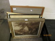 GEORGE MORLAND GILT FRAMED PRINT, WATERCOLOUR BY B RIPPER ETC
