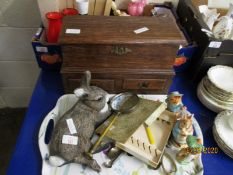 TABLE TOP MULE TYPE CHEST WITH LIFT UP TOP AND TWO DRAWERS TOGETHER WITH A RESIN RABBIT, BEATRIX