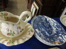 SIX ASSORTED MYOTT ROYAL MAIL BLUE PRINTED DINNER PLATES AND A FURTHER ROSE DECORATED WASH JUG AND