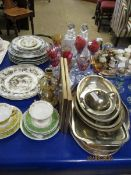 MIXED LOT OF PLATES, CANDLESTICKS, SILVER PLATED ENTRÉE DISH, GALLERIED EDGE TRAY, MIXED GLASS