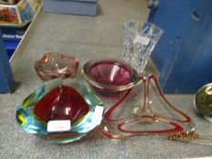 FOUR ASSORTED STUDIO GLASS HEAVY BOWLS AND A FURTHER FACETED CUT VASE (5)