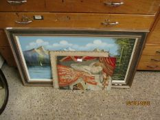 TWO VICTORIAN EMBROIDERED PICTURES TOGETHER WITH A CONTINENTAL OIL ON CANVAS OF A MOUNTAINOUS