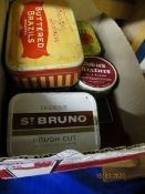 BOX CONTAINING VINTAGE TINS