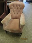 VICTORIAN MAHOGANY FRAMED SPOON BACK ARMCHAIR WITH BUTTON BACK WITH PUCE UPHOLSTERY