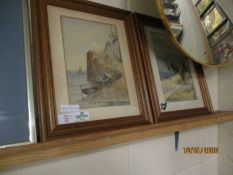 TWO COLOURED PRINTS OF COASTAL SCENES