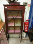 EDWARDIAN MAHOGANY PAINTED SINGLE GLAZED DOOR DISPLAY CABINET