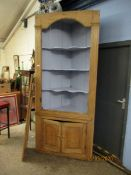 19TH CENTURY PINE FLOOR STANDING CORNER CUPBOARD WITH PAINTED INTERIOR WITH FOUR PANELLED DOORS WITH