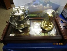MODERN PRESIDENT TEAK MANTEL CLOCK, ANNIVERSARY CLOCK AND SILVER PLATED WARES