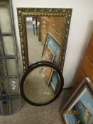 OAK FRAMED OVAL WALL MIRROR AND A FURTHER GILT RECTANGULAR WALL MIRROR WITH PIERCED EDGE