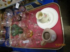 TRAY CONTAINING MIXED CHAMPAGNE GLASSES, WINE GLASSES ETC