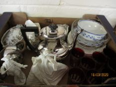 BOX CONTAINING A SET OF EIGHT BOHEMIAN TYPE GLASS TUMBLERS, SILVER PLATED TEA POT ETC