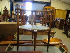 EDWARDIAN MAHOGANY FRAMED BOW BACK CHAIR ON FOUR LEGS AND X-STRETCHER