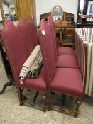 SET OF SIX OAK FRAMED RED UPHOLSTERED HIGH BACK DINING CHAIRS WITH BUTTON DETAIL