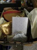 BOX CONTAINING VINTAGE LADIES PURSES ETC