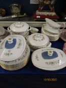 QUANTITY OF WEDGWOOD INDIA ROSE PART DINNER WARES, DOULTON PASTORAL PAIR OF TUREENS