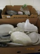 TWO BOXES CONTAINING MIXED CHINA WARES, GLASS WARES ETC