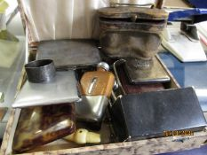 BOX CONTAINING BINOCULARS, SILVER PLATED CIGARETTE CASES ETC